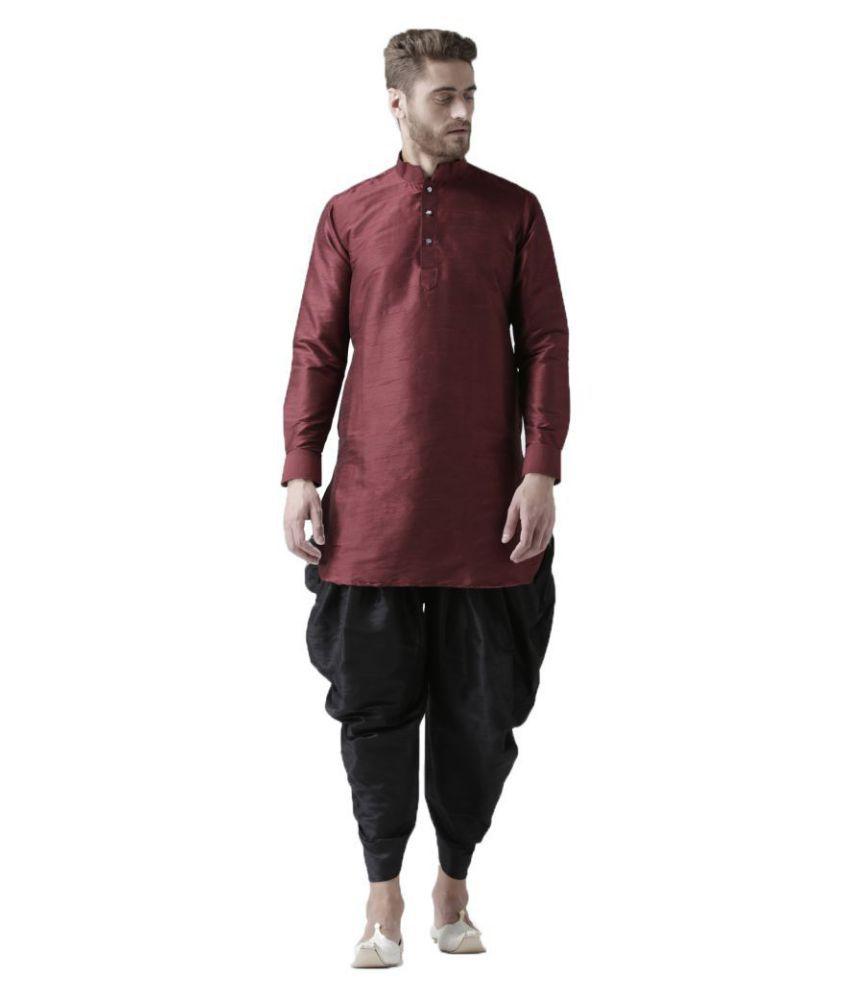 Deyann Maroon Silk Blend Dhoti Kurta Set