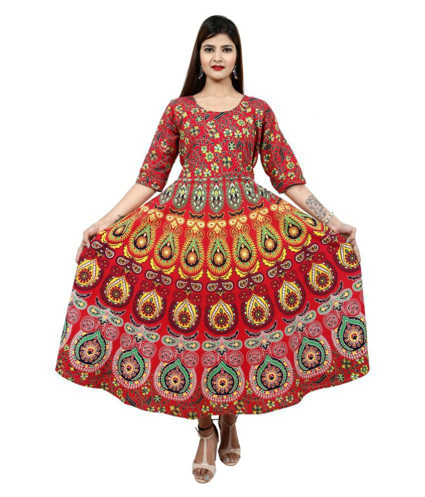 Dhruvi Cotton Red Fit And Flare Dress