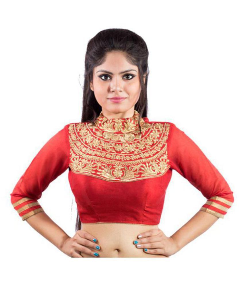 Intrigue Red Silk Readymade with Pad Blouse