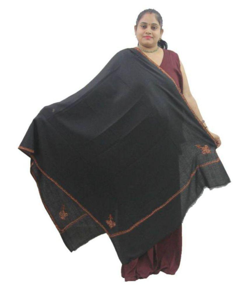 Vrinde Black Sozni embroidery Shawl