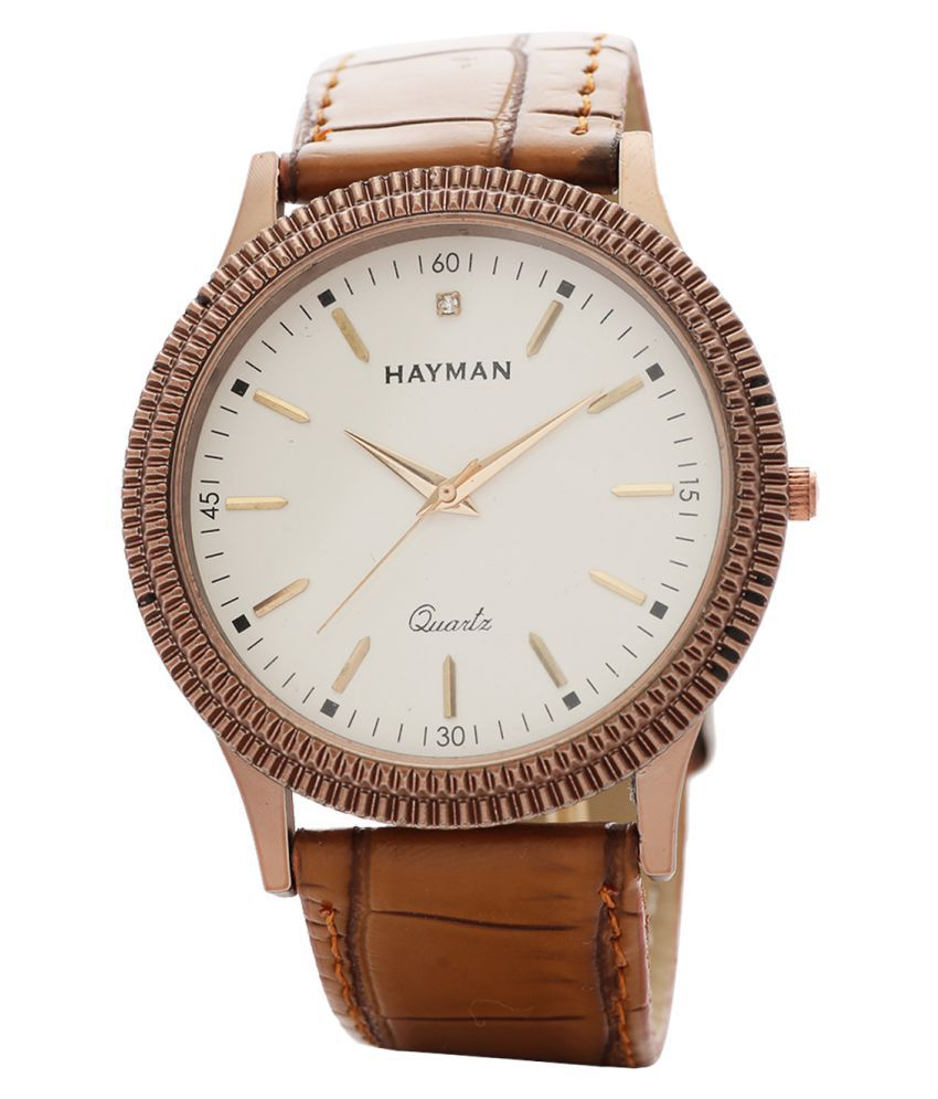 Hayman Analog Off-White Dial Mens & Boys Watch (W-4)