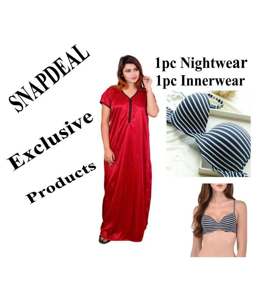 Grind Sapphire Satin Nighty & Night Gowns - Multi Color