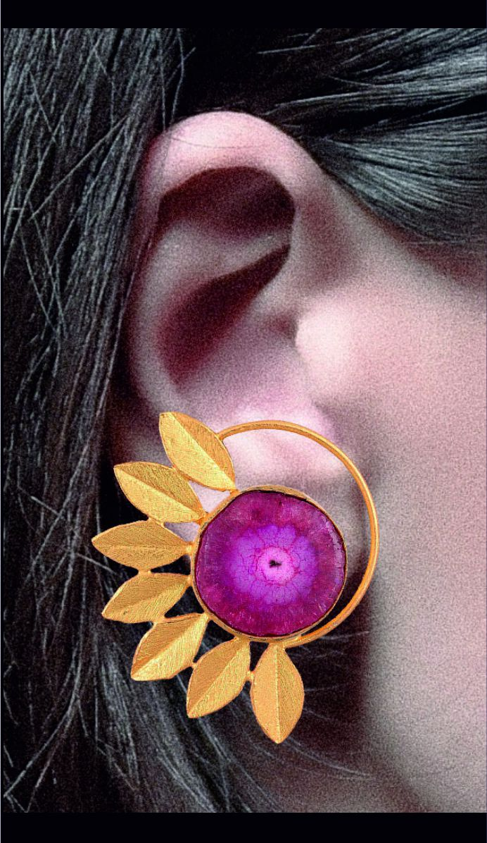 Pratibimb Jewels Designer Trendy Pink Agate Gold Dipped Earring Studs for Women and Girls