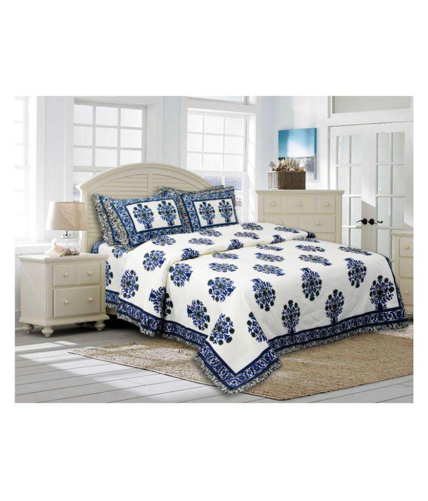 GirishExport Cotton Double Bedsheet with 2 Pillow Covers