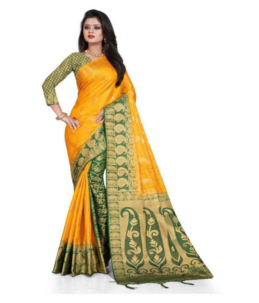 Nirja Creation Yellow,Beige Kanchipuram Saree