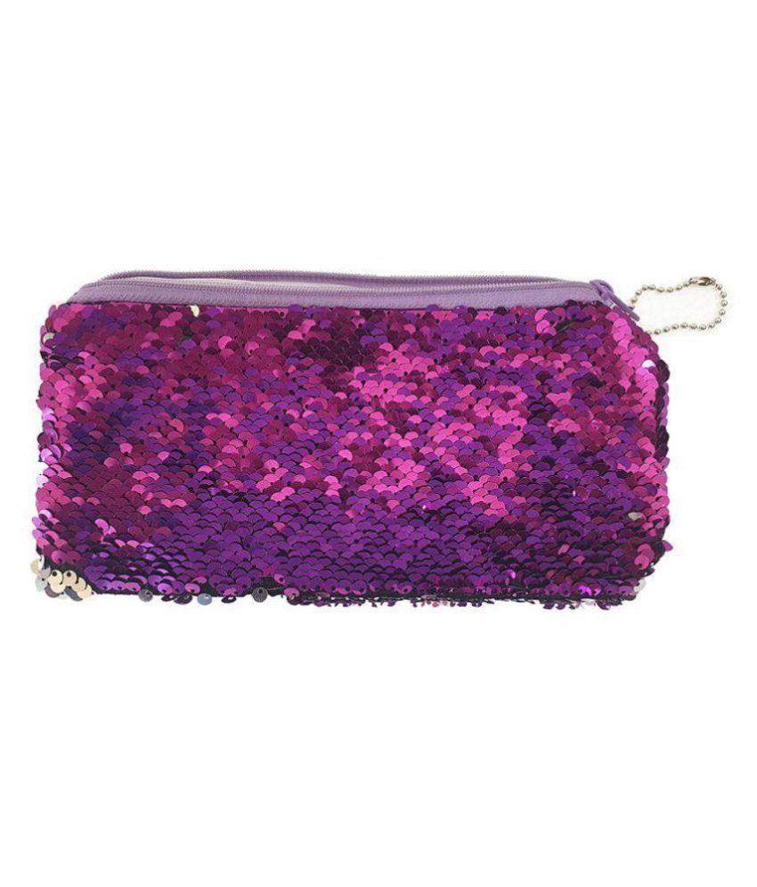 1e0238e9ca7e Okayji Magic Mermaid Sequin Cosmetic Bag Flip Double Color Handbag Pouch  Glitter Pencil Case, 1- Piece (Purple)