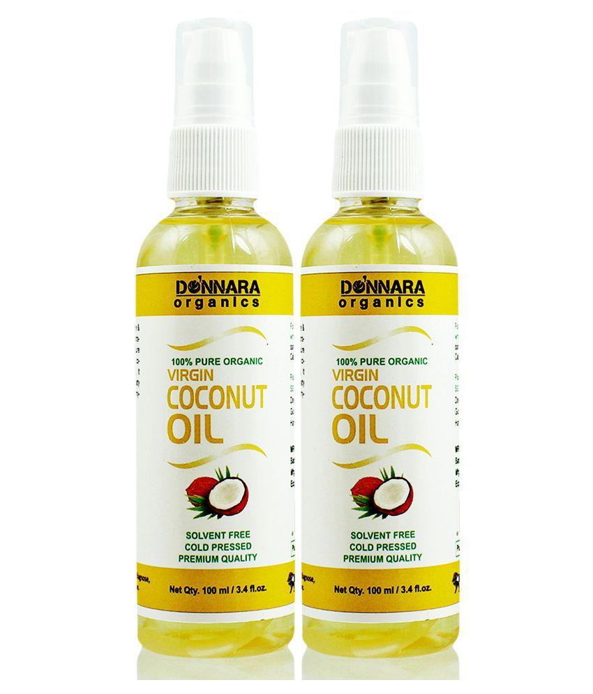 Donnara Organics 100% Pure & Natural Virgin Coconut oil-  200 ml Pack of 2