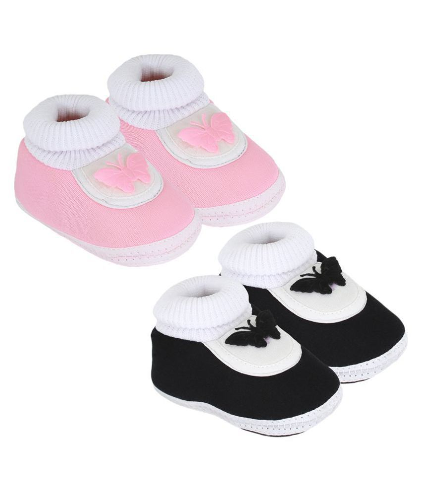 Neska Moda Baby Boys And Baby Girls Black And Pink Soft Slip On Booties For 0 To 6 Months