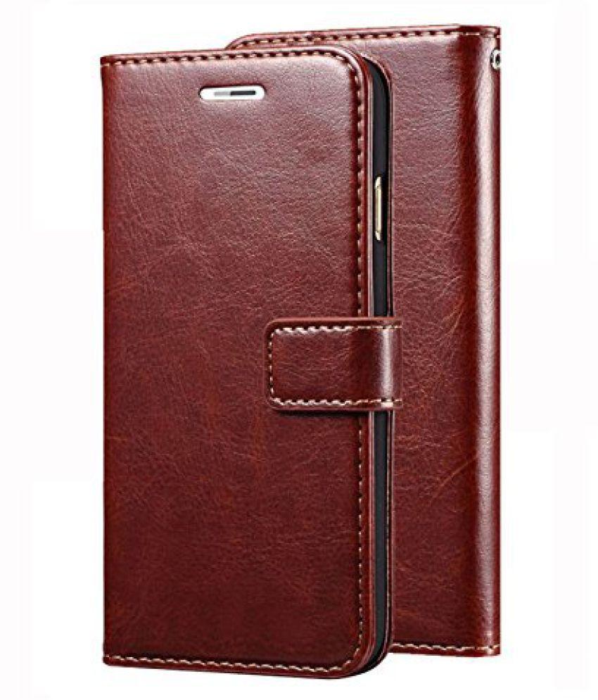 Samsung Galaxy J7 Prime 2 Flip Cover by ClickAway   Brown Original Vintage Wallet Flip Case with Kickstand
