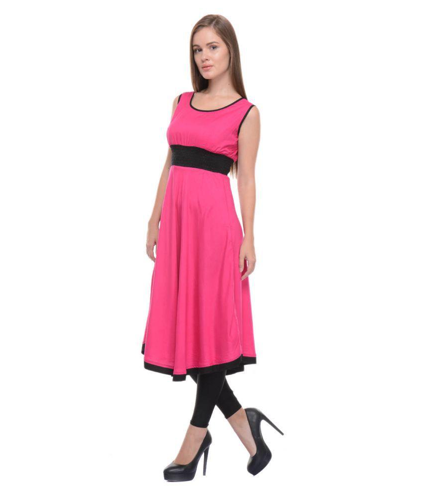 Kalakaari Pink Rayon A-line Kurti