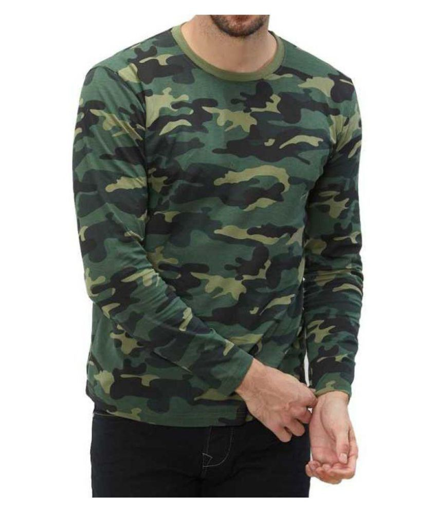 Military Touch Green Full Sleeve T-Shirt Pack of 1