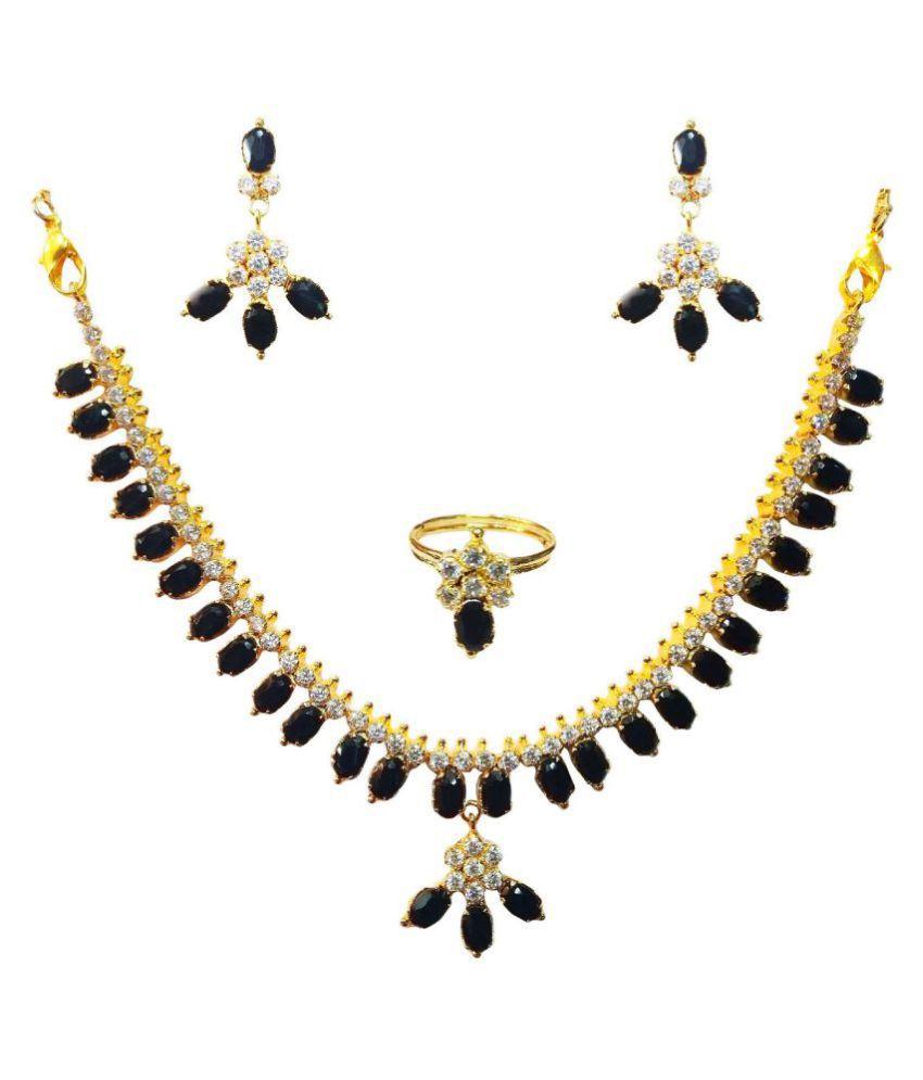 Vinayak Alloy Black Choker Contemporary/Fashion 18kt Gold Plated Necklaces Set