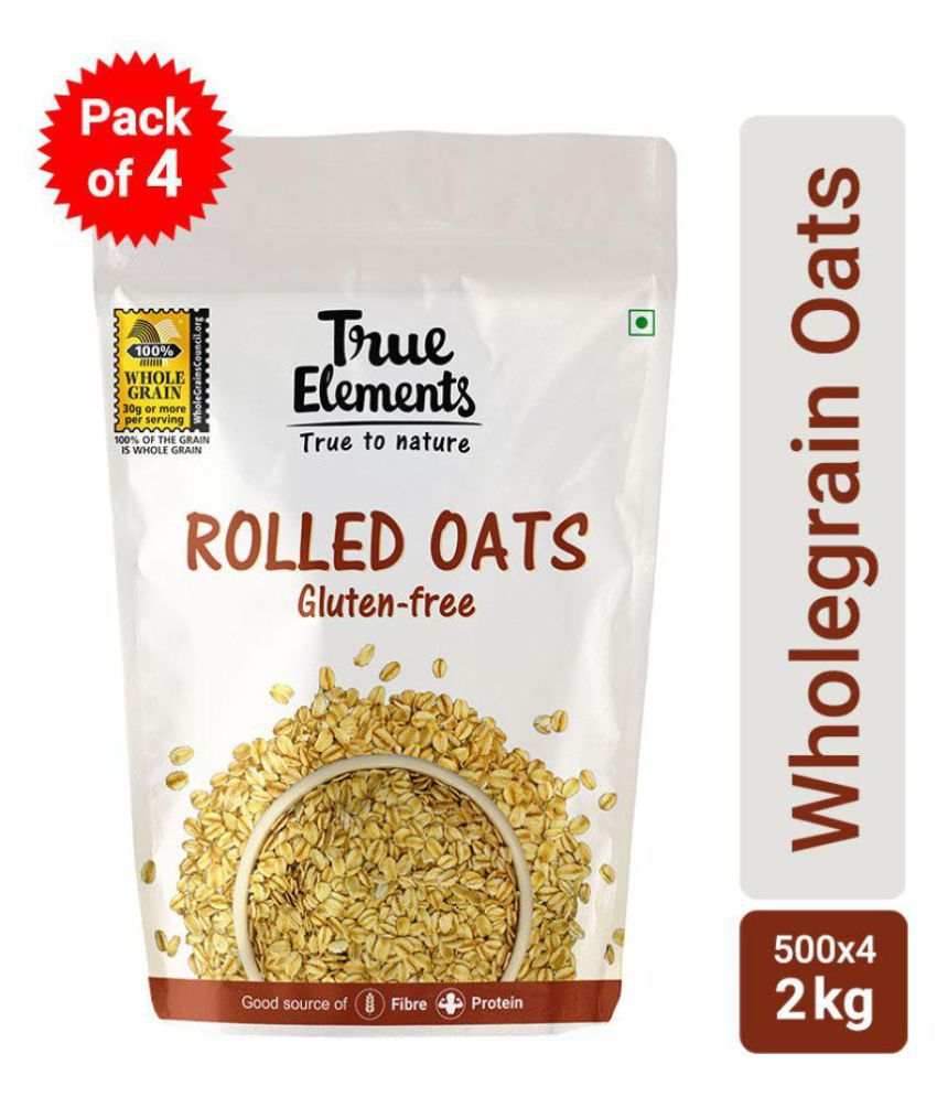 True Elements Rolled Oats Gluten Free 500gm - Pack of 4