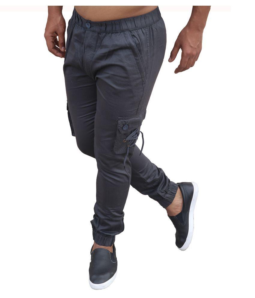 Clothonics Grey Slim -Fit Flat Cargos