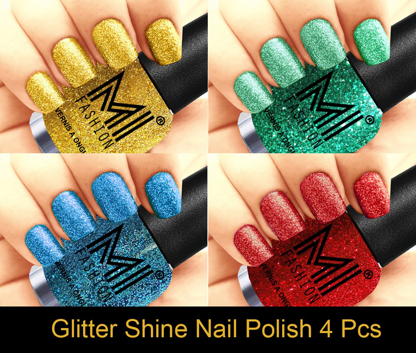 MI FASHION Long Lasting Professional Glitter Nail Polish Golden Gold,Radium,Sky Blue,Red Glitter 48 ml Pack of 4
