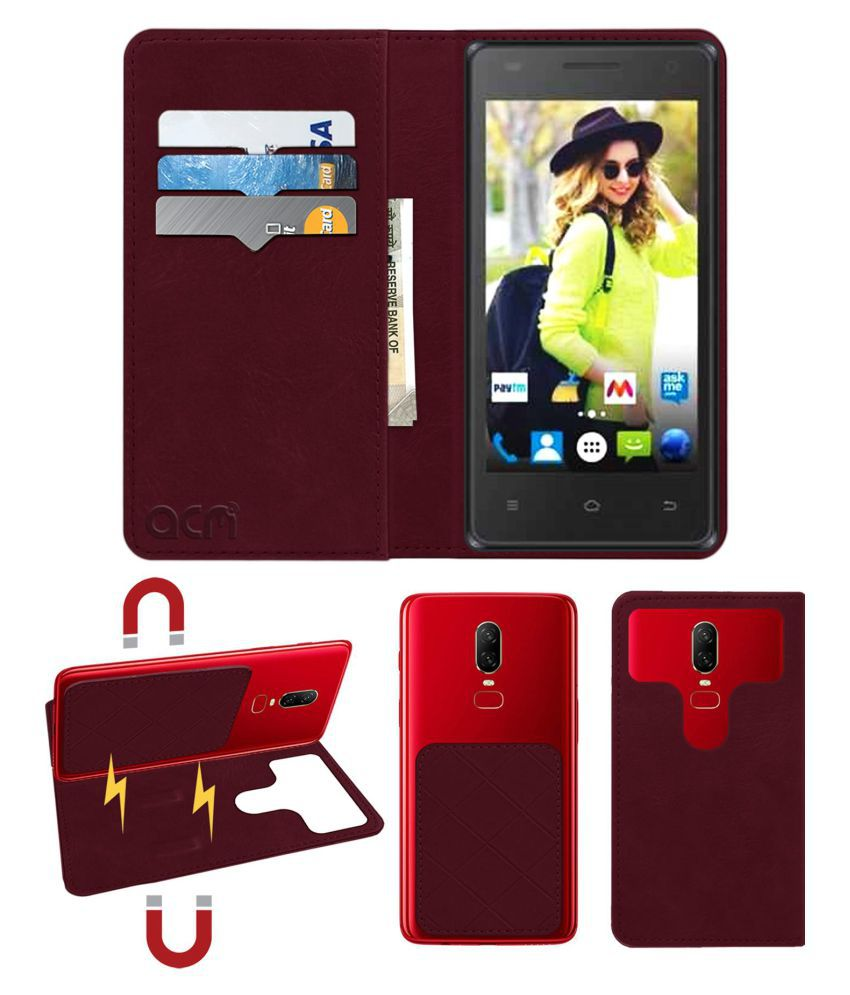 Rage Supremo 4.5 3G Flip Cover by ACM - Red 2 in 1 Detachable Case,Attachable Flip With Magnet