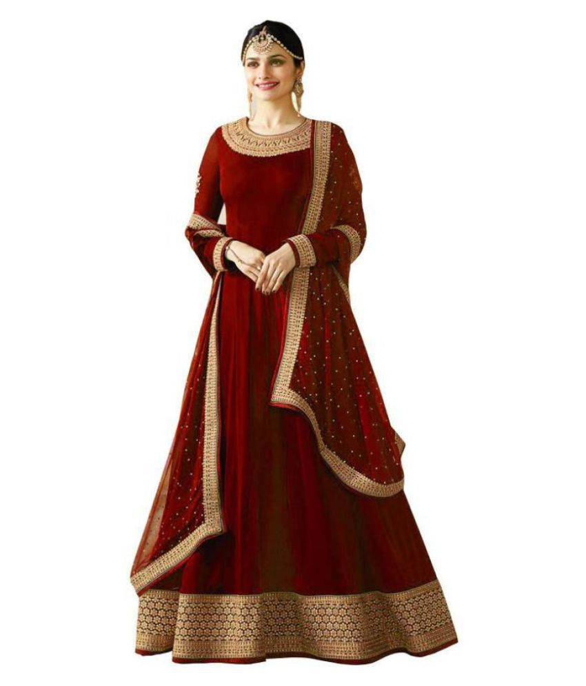 d3423e0f2afa Ethnic Wings Maroon Georgette Anarkali Semi-Stitched Suit - Buy Ethnic  Wings Maroon Georgette Anarkali Semi-Stitched Suit Online at Best Prices in  India on ...