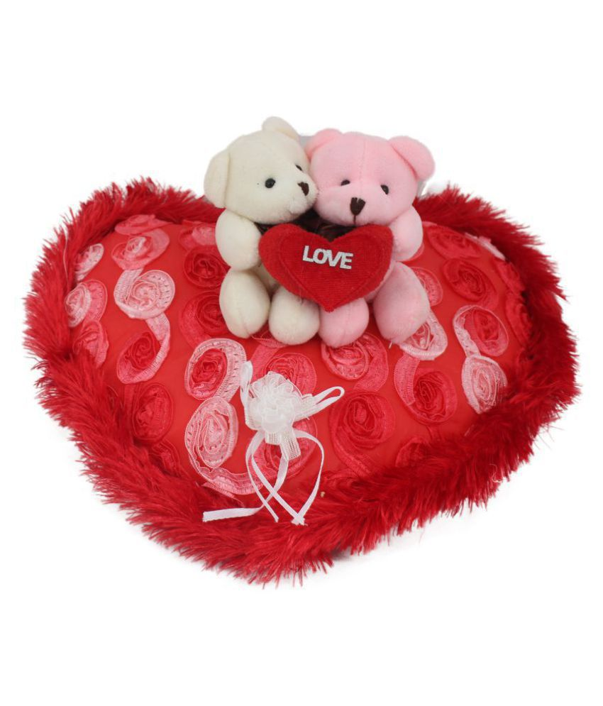 Tickles Loving Couple Teddy Sitting on Beautiful Heart Special Valentine Day gift 25 cm