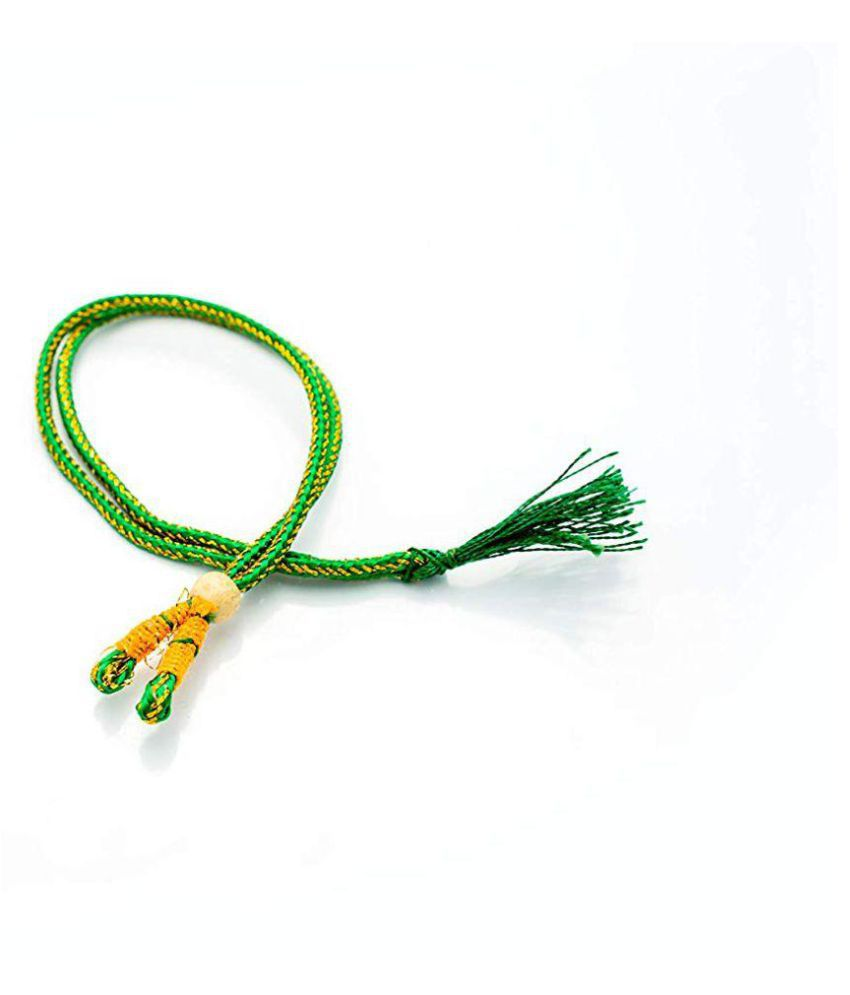 Sparkle Necklace Back Rope Colorful (Green) dori for Silk Thread Jewellery Making, Pack of 12Pcs.