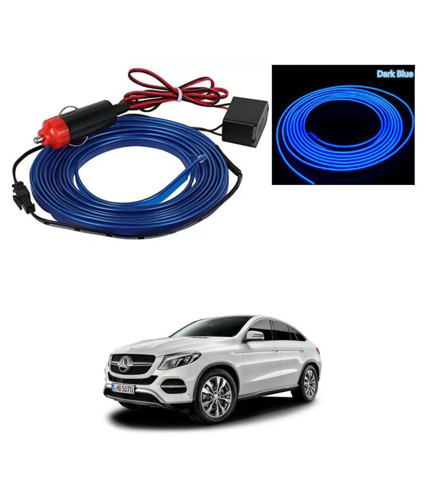 Auto Addict Blue Color 12V 5Mtrs Roll Cold Light Car Socket Strip Neon Lamp EL Wire Decor Interior Lighting For Mercedes Benz NA