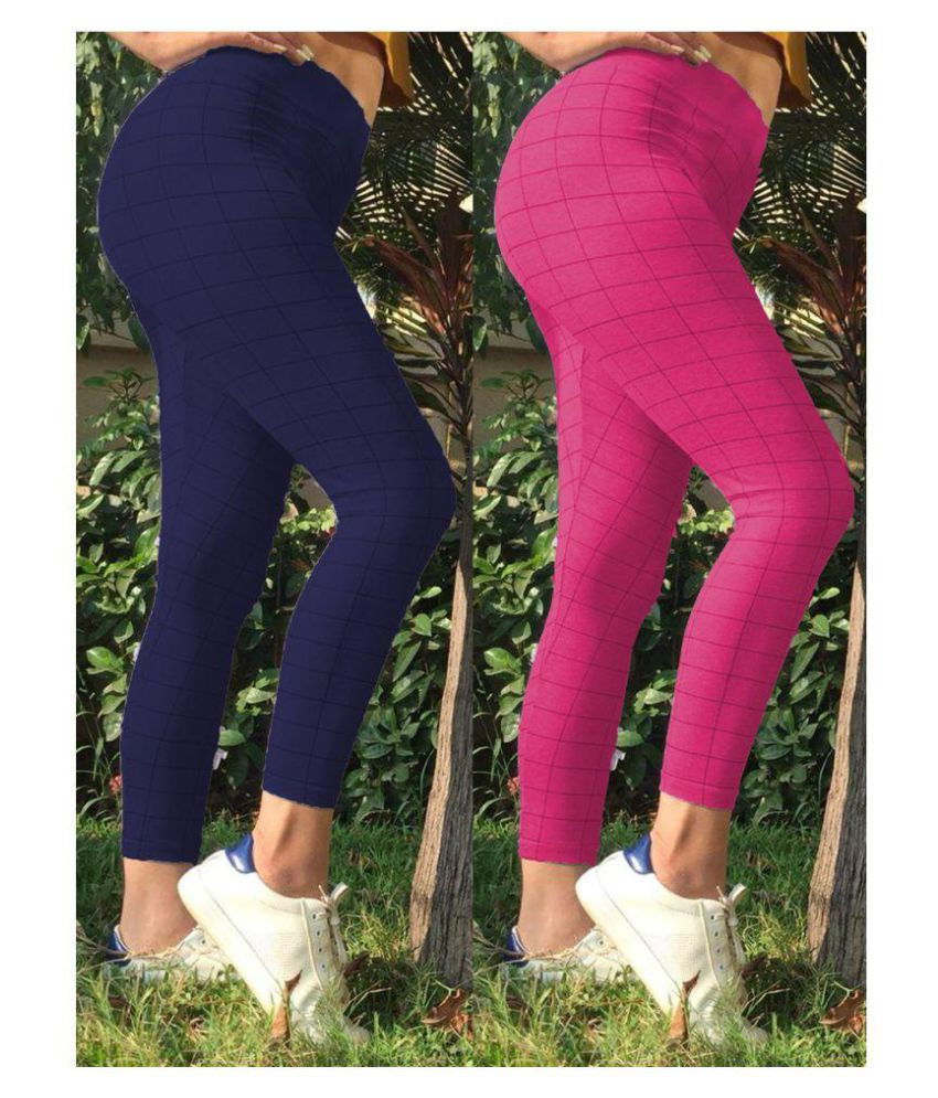 Trusha Dresses Cotton Lycra Tights - Multi Color
