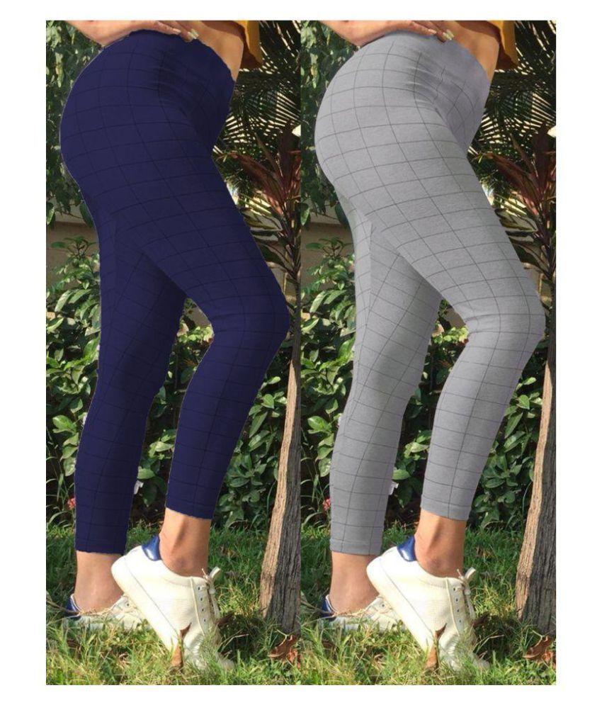 Trusha Dresses Cotton Lycra Tights - Multi Color