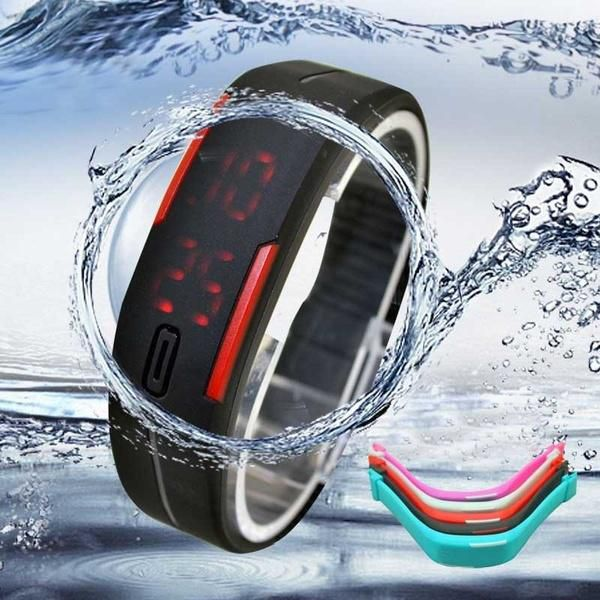 Ultra Thin Men Girl Sports Silicone Digital LED Sports Bracelet Wrist Watch Fashion Jewellery