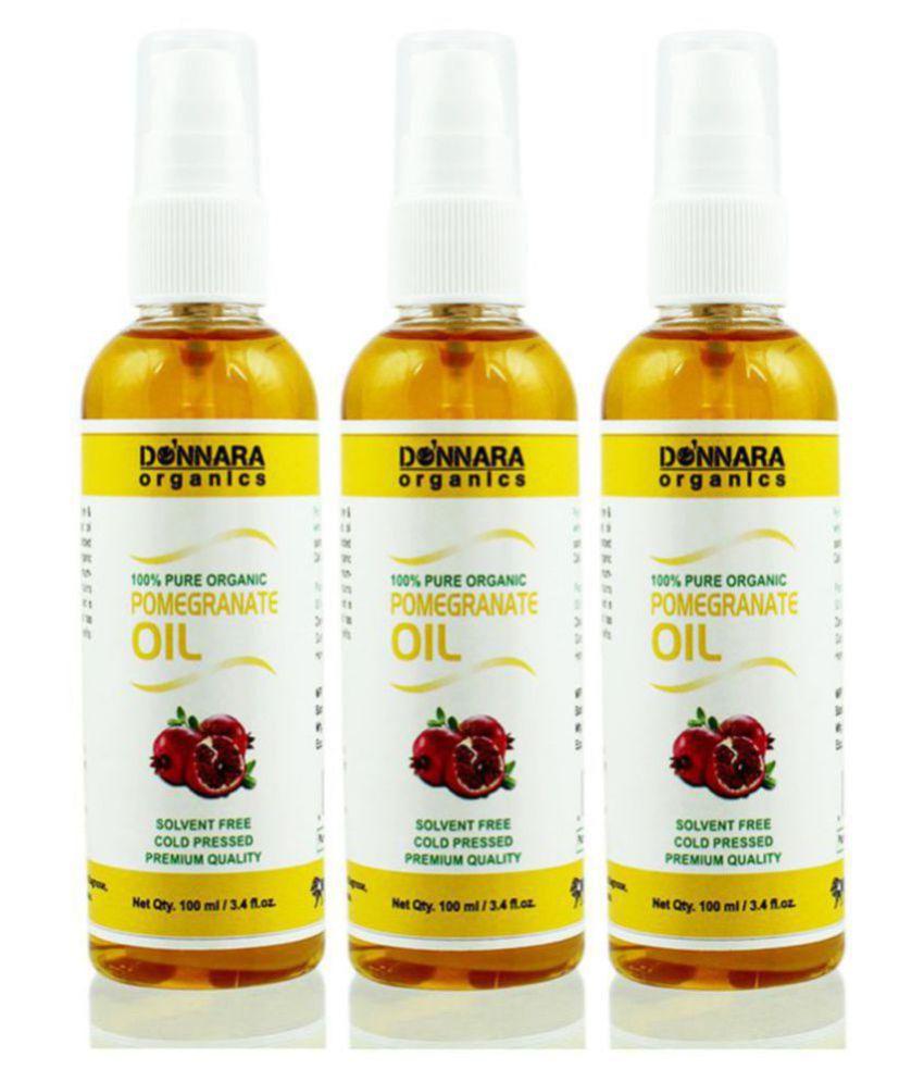 Donnara Organics 100% Pure & Natural Pomegranate oil- 300 mL Pack of 3