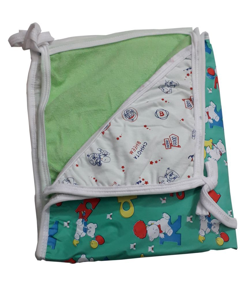 Baby Green Cotton Baby Wrap cum blanket ( 67 cm × 53 cm - 1 pcs)