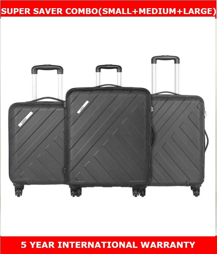 4228060fb Safari Polycarbonate (Small + Medium +Large) Trolley Luggage Black Hard  sided Suitcases Anti ...