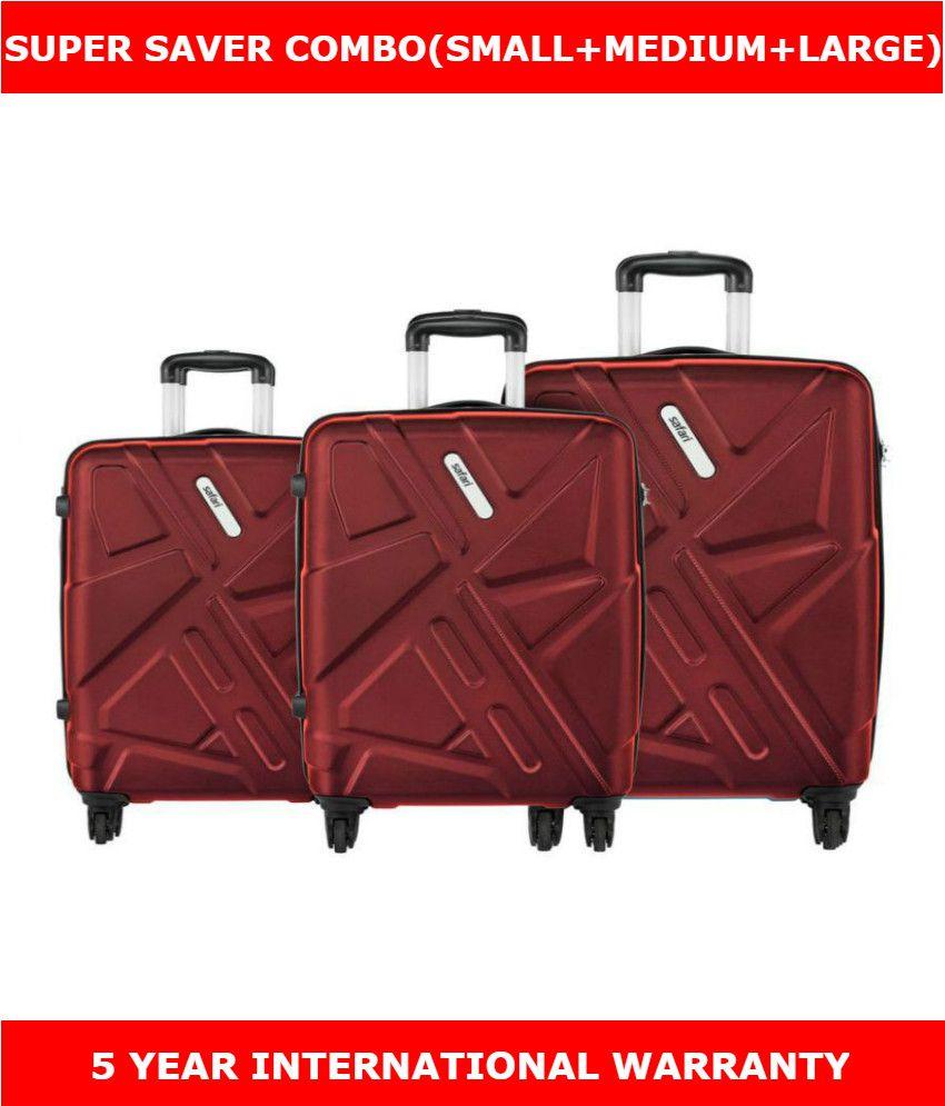 50ccaa42d177 Safari Traffik Anti Scratch Combo Set of 3 Red Small, Medium & Large Hard  Luggage Trolley Bag/Travel Bag(International Luggage)