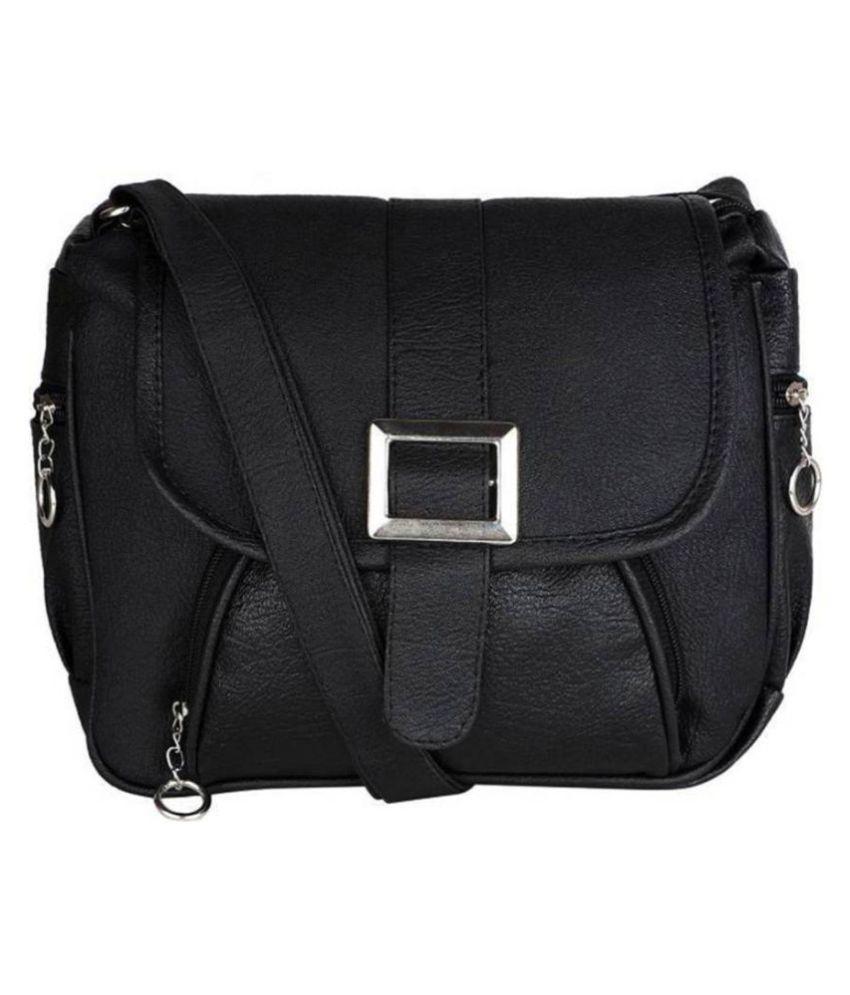 Devanshiart Black P.U. Sling Bag