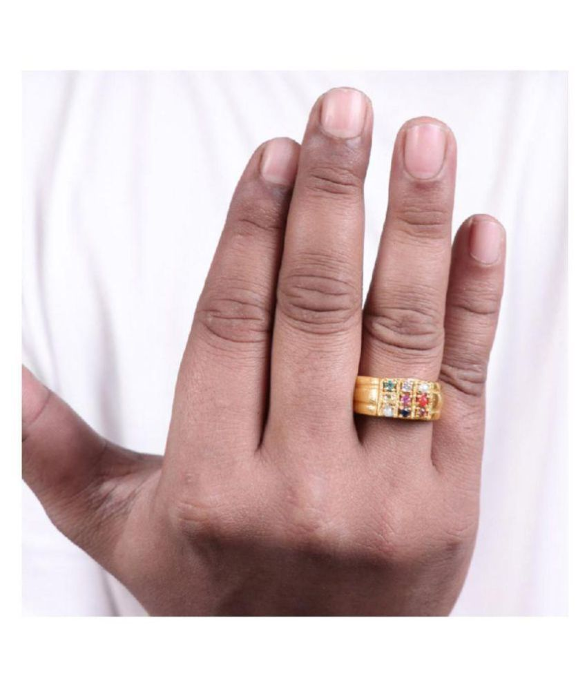 Navratan Gold Plated Panchdhatu Ring 9 Gemstone Unisex Ring