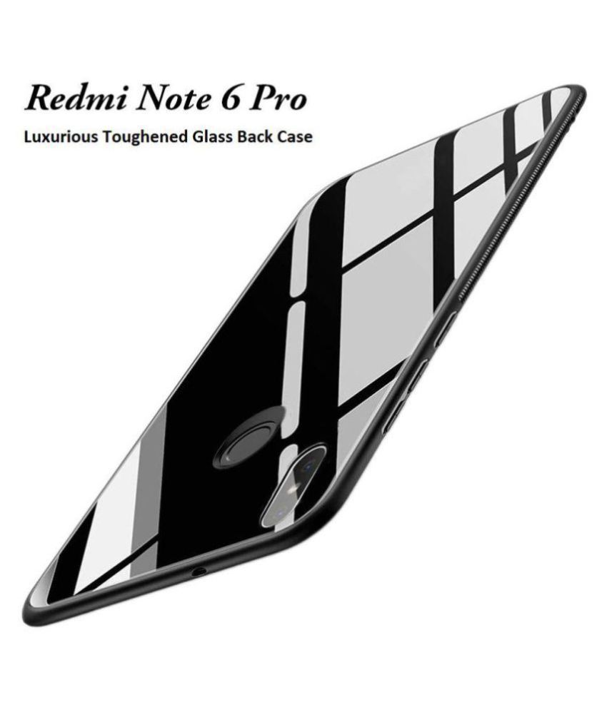 Xiaomi Redmi Note 6 Pro Mirror Back Covers KOVADO - Black 360°  Luxurious Toughened Glass Back Case