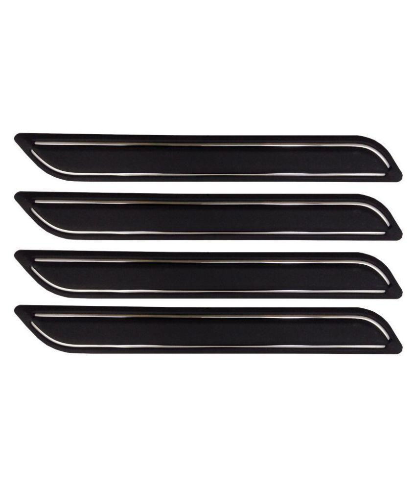 Ek Retail Shop Car Bumper Protector Guard with Double Chrome Strip (Light Weight) for Car 4 Pcs  Black for VolkswagenVentoComfortlinePetrol
