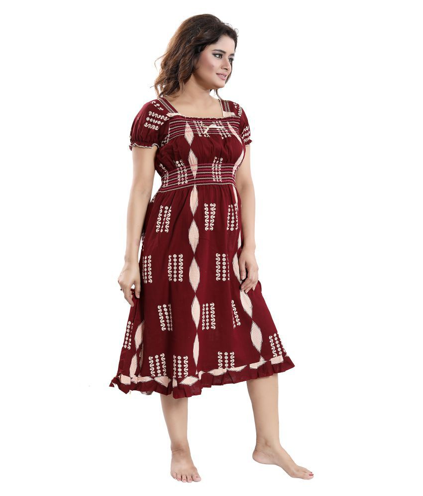 56888fda2c Buy Cinco Cotton Nighty & Night Gowns - Multi Color Online at Best ...