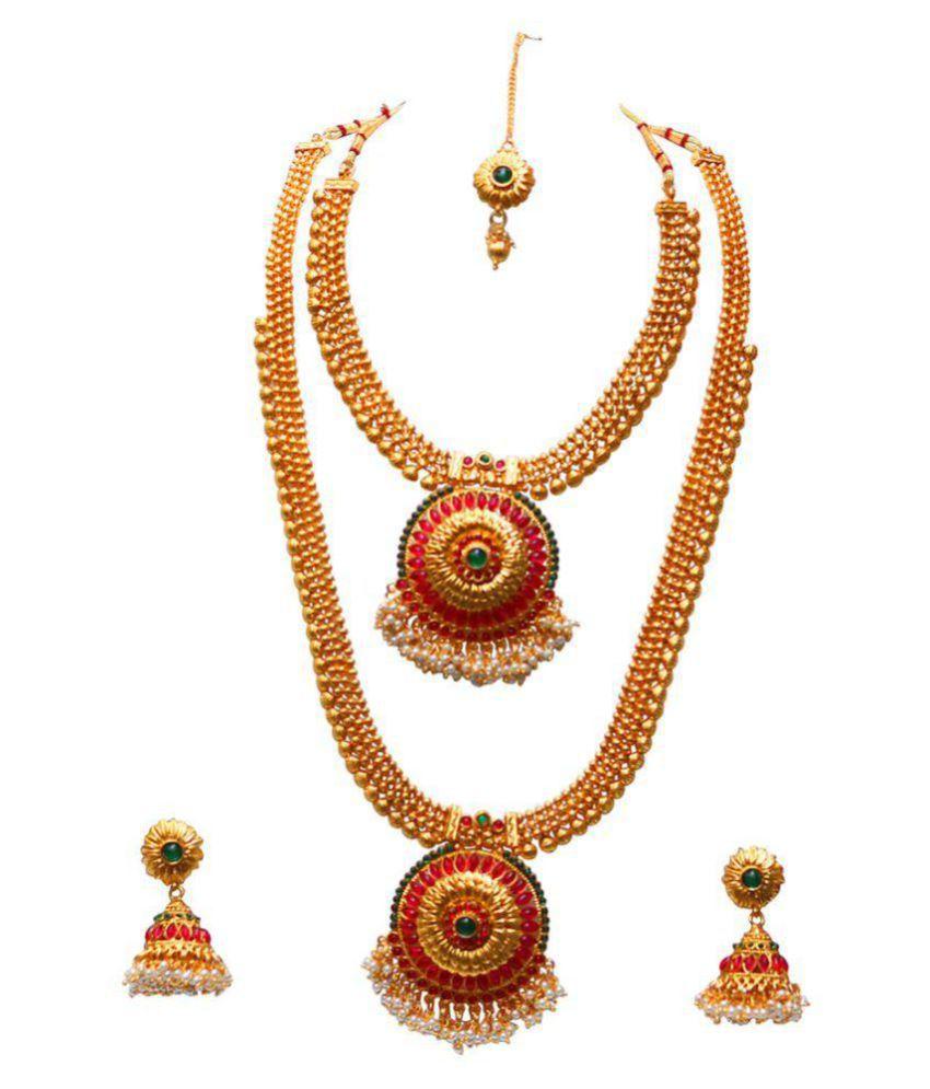 Look Ethnic Copper Multi Color Long Haram Designer 14 kt Gold Plated