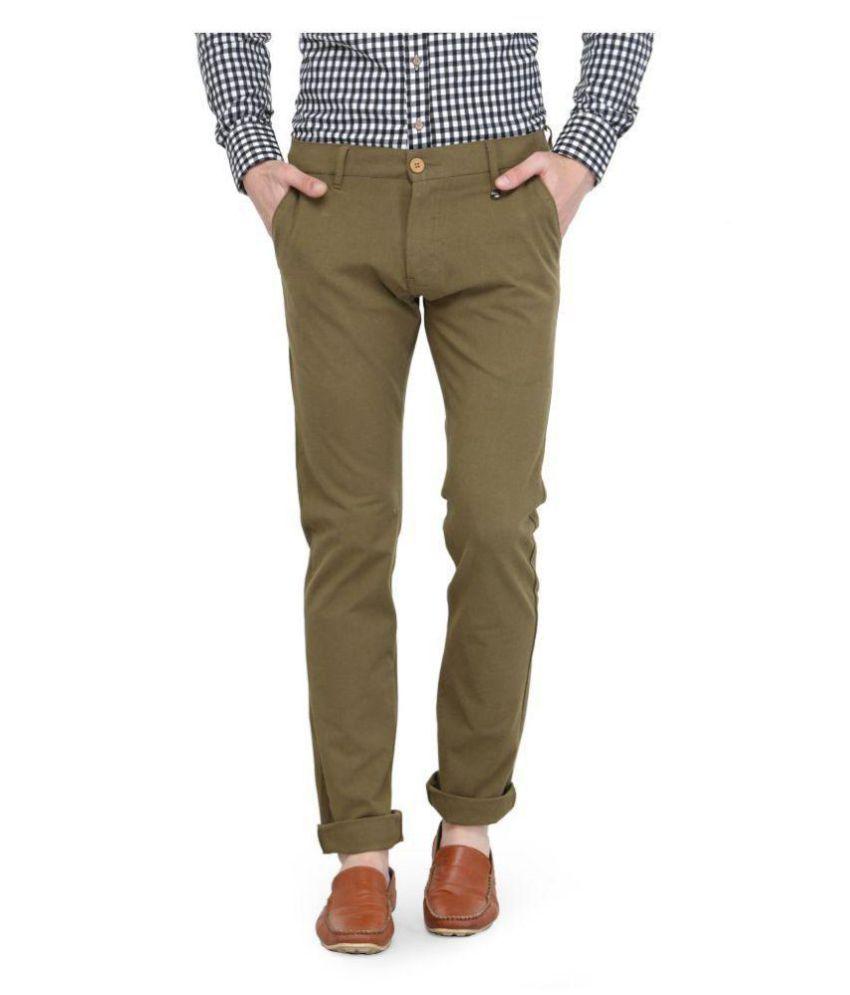 Jump USA Green Slim -Fit Flat Chinos