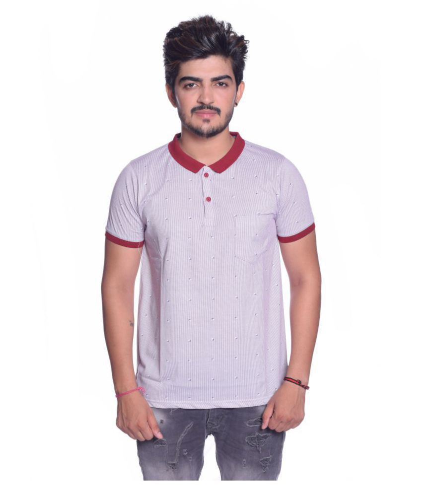 Le Bon Ton White Cotton Polo T-Shirt