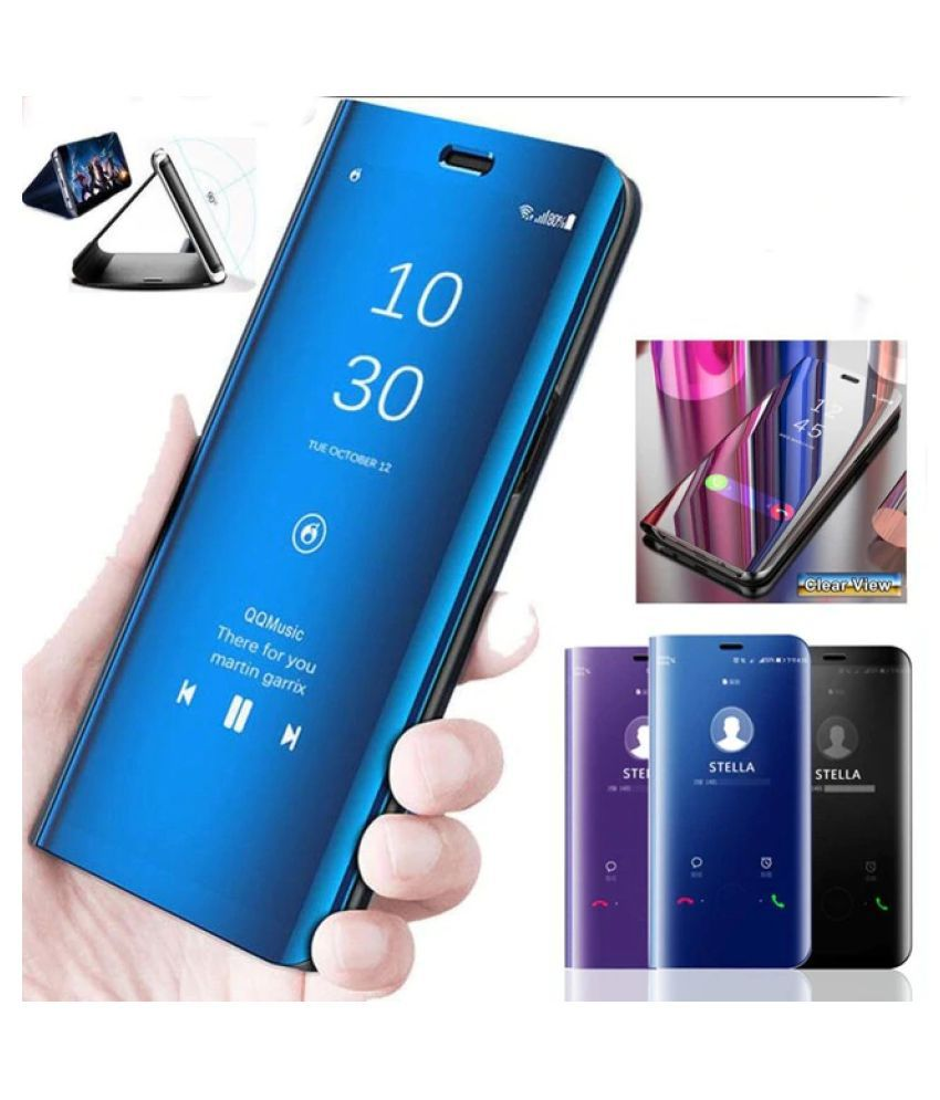 premium selection df268 48850 Xiaomi Redmi Note 5 Pro Flip Cover by Worth IT - Blue Luxury Clear View  Electroplated Mirror Flip Cover