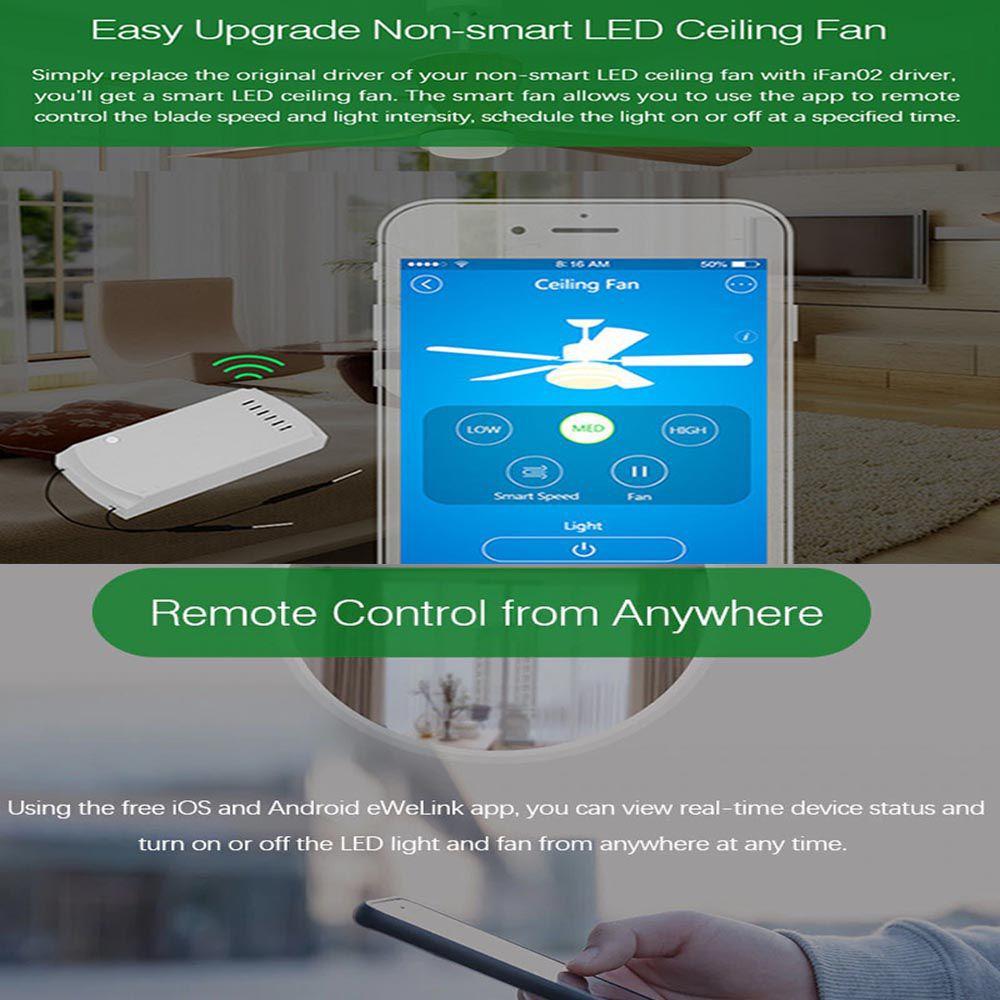 Sonoff Ifan02 App Control Fan + Light Smart Switch with Remote