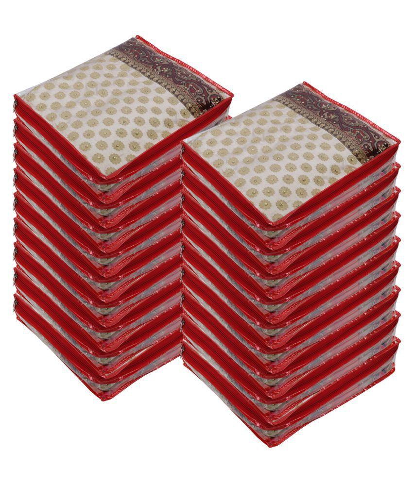 Aashi Red Saree Covers - 18 Pcs