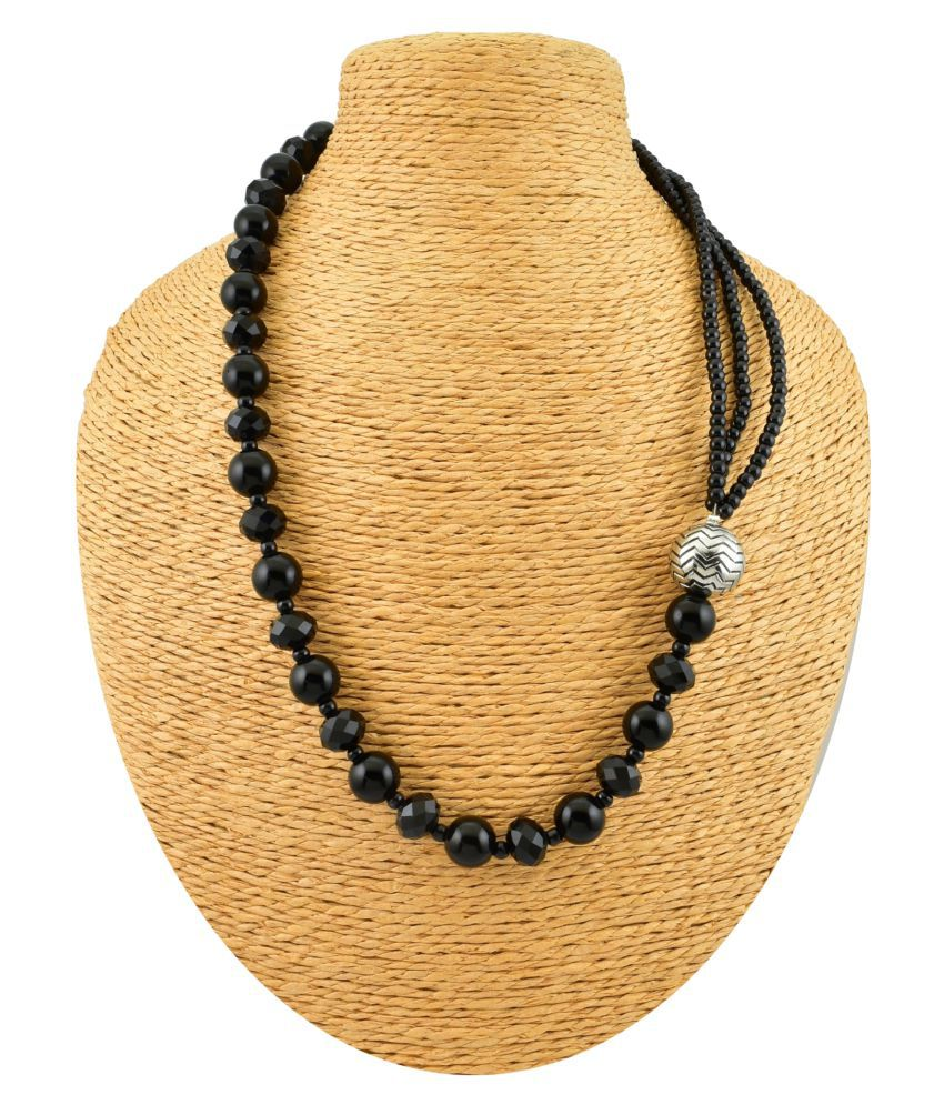 High Trendz Glass Black Matinee Designer Oxidised Necklace