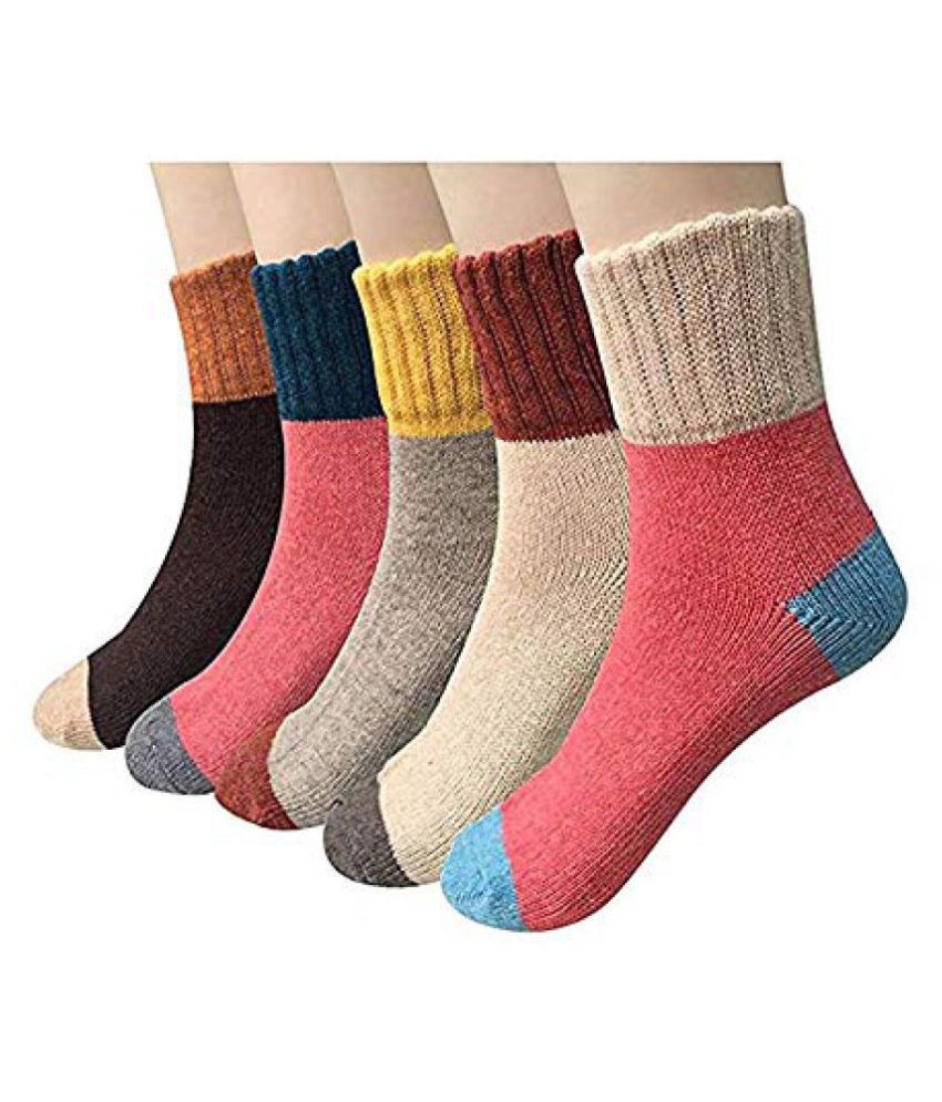 9cb8b6c49 Aeoss 5 Pair Women's Thick Socks, Winter Female,Cold Weather Soft Warm Wool  Socks Color Matching Warm Socks Girl's Socks: Buy Online at Low Price in  India - ...