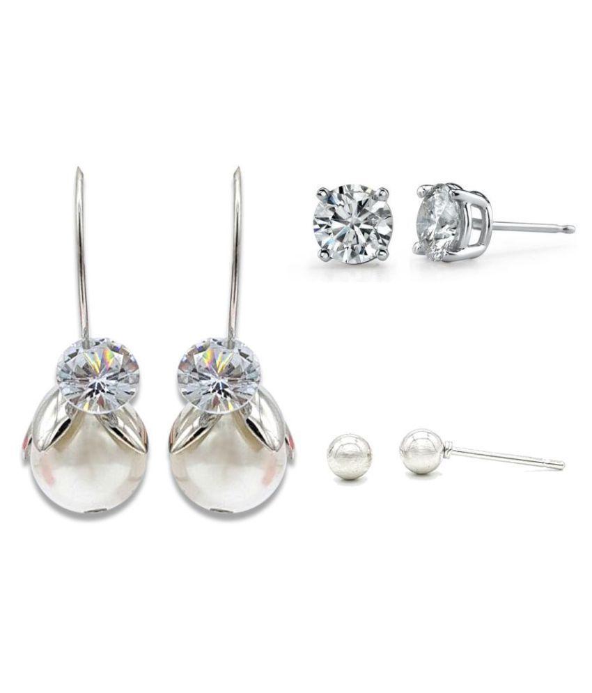 Kiyara Accessories Fashion Jewellery Sliver Pearl Drop Zircon Earrings for Women And Girls