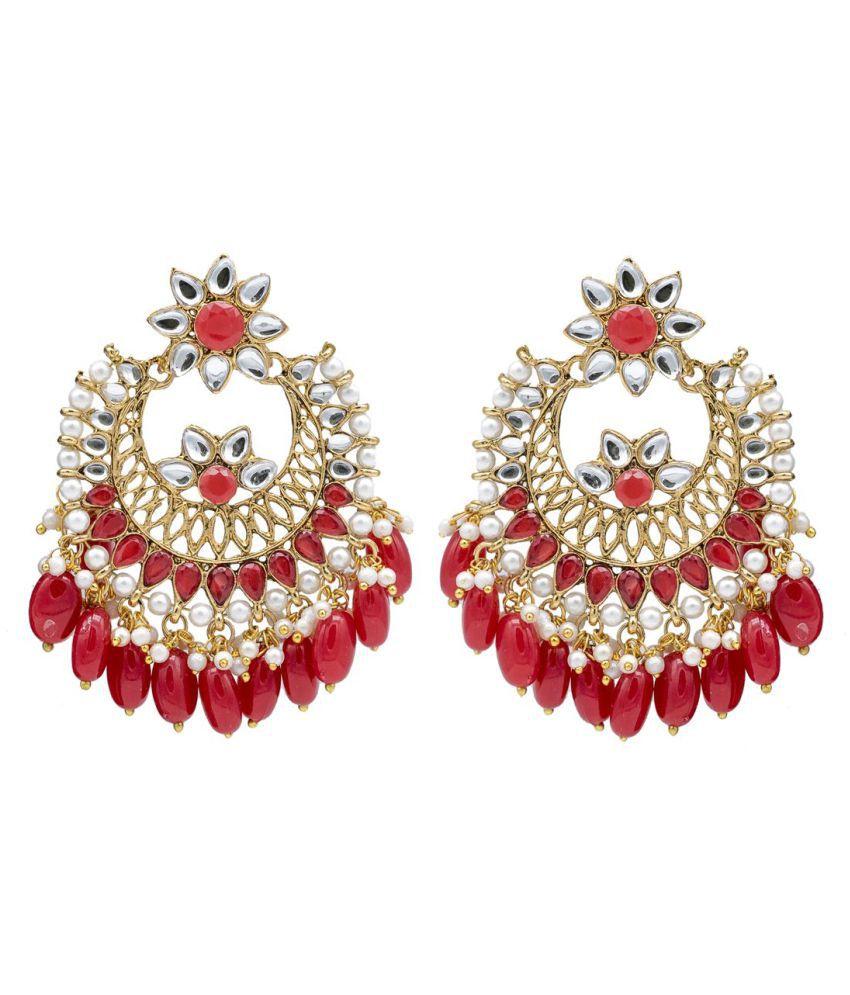 Kiyara accessories fashion jewellery traditional alloy gold and red dangle and drop classic kundan Chandbali earring set for girls and women. Pearl Alloy Chandbali Earring, Drop Earring, Earring Set, Dangle Earring