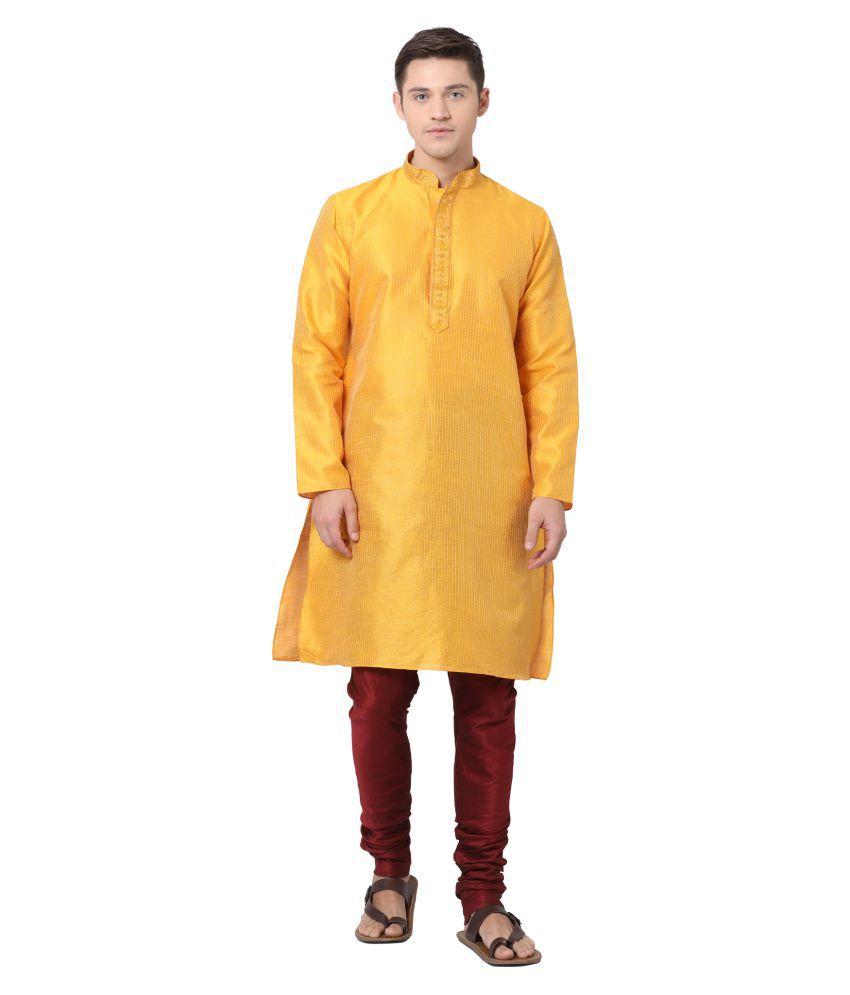 Tabard Yellow Silk Blend Kurta Pyjama Set