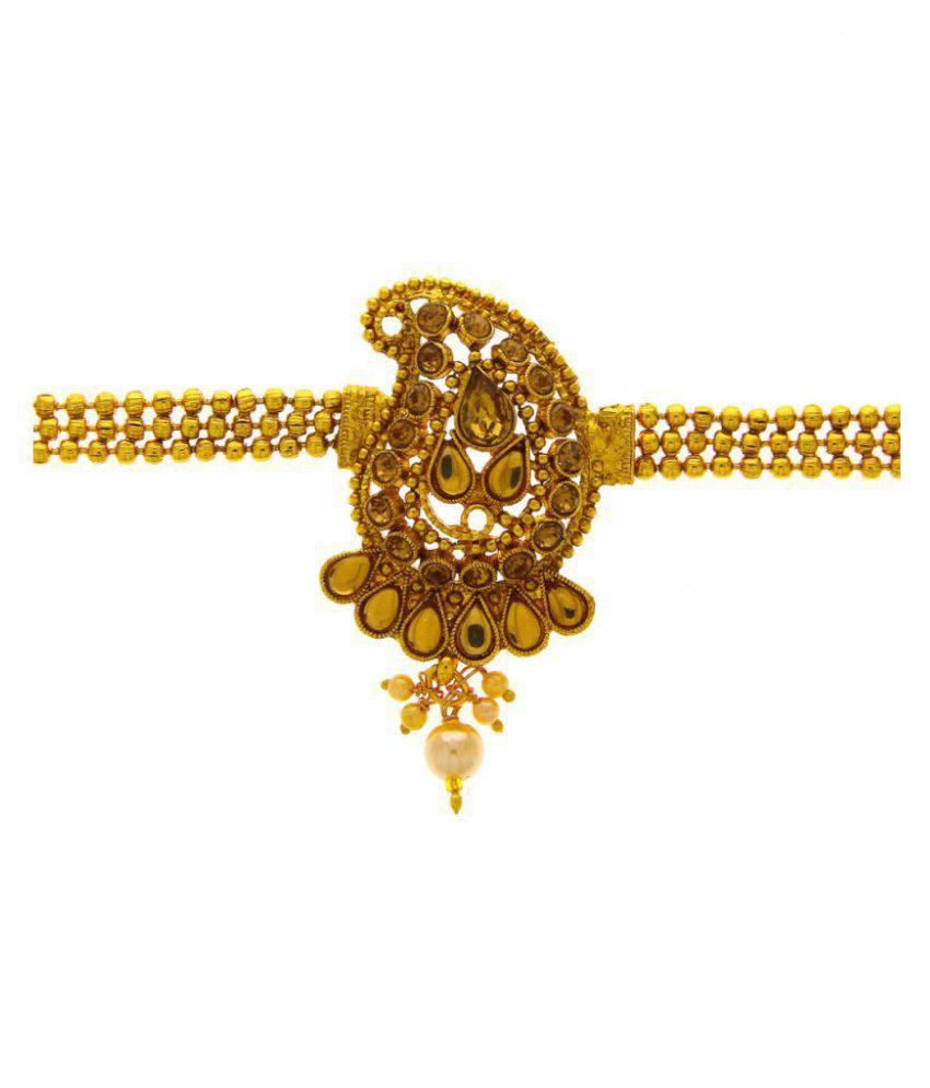 .Anuradha Art Golden Colour Wonderful Studded Stone Designer Wakki/Bajuband Armlets For Women/Girls