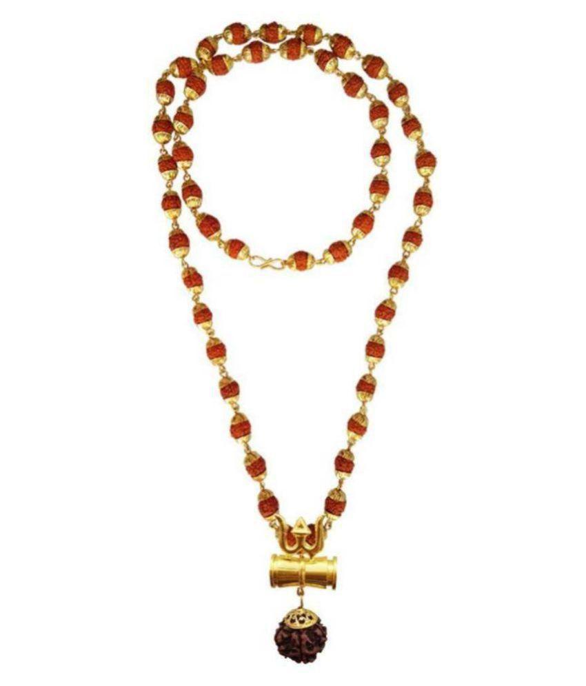 J S Imitation Shiv Shakti Kavach 5 Mukhi Rudraksha Mala 5 Face Rudraksha