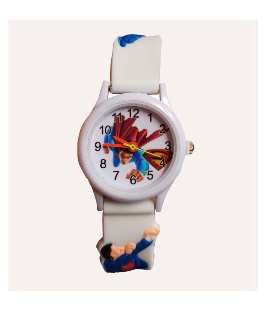 S S TRADERS - White Superman Analogue Watch for Kids